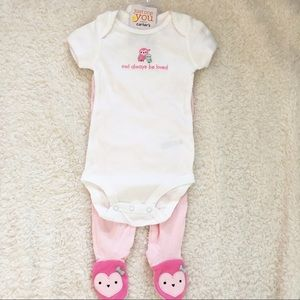 🎀 New! Owl Onsie outfit with footed pants